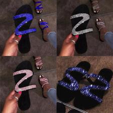 Womens Summer Slip On Beach Sandals Glitter Diamante Slipper Casual Flat Shoes