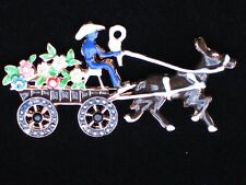 "Sombrero Mexican Senor Donkey Driver Flower Wagon Cart Pin Brooch Jewelry 2.75"""