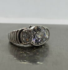 925 Sterling Silver Giant Square Clear Cubic Zirconia Cocktail Ring Size 6