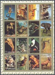 Ajman 1973 Fauna. Monkeys etc., mini sheet of 16 v. MNH