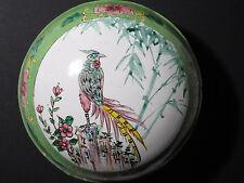 "Antique Vintage Chinese Canton Enamel on Copper Lidded Box Bird - 4"" Diameter"