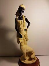 "Elegant African Figurine with dog. 14.5"" tall , La Verona statue"