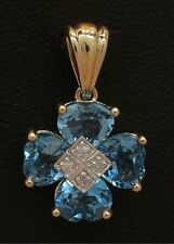 9 Carat Yellow Gold 4 x Heart Shaped Blue Topaz & Diamond Pendant (80.19.483)