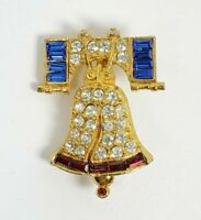 Sparkling Liberty Bell Patriotic Pin Brooch Red Clear Blue Rhinestones Cinerama