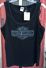 HARLEY DAVIDSON Black Gray Ribbed Tank Top Size 3W 3X NWOT Made In USA