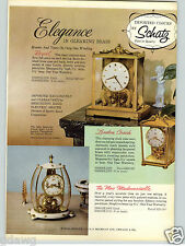 1957 PAPER AD Schatz Brass Glass Clocks Royal London Coach Madamoiselle Clock