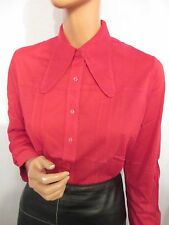 NEW OLD STOCK VINTAGE HUGE 1970s COLLAR LONG SLEEVE STRETCH RED SHIRT MOD L