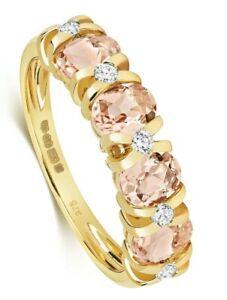 Morganite and Diamond Eternity Ring Yellow Gold Appraisal Certificate