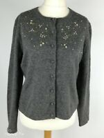 Deane & White Grey Embroidered 100%Cashmere Cardigan Plus Size 16 L