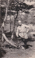 1937 Handsome young man in forest shaved head guy Russian antique photo gay int