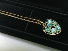 Cat's Eye Stone Aqua Necklace Pendant Gold Plated Chain with Display Case
