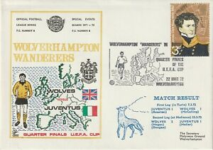 22 MARCH 1972 WOLVERHAMPTON W v JUVENTUS UEFA CUP FLOWN FOOTBALL COVER