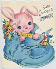 UNUSED Pink BUNNY Baby Shoe Vintage EASTER CARD Grandmother Glitter 1940s CUTE