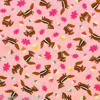 FT77 Chipmunk Acorn Oak Leaves Cute Forest Frolic Poplin  Cotton Quilt Fabric