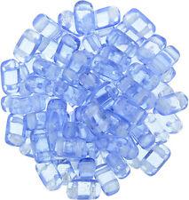 50 CzechMates Brick Glass Beads 2 Hole Two Hole Beads 3x6mm Transparent Colors