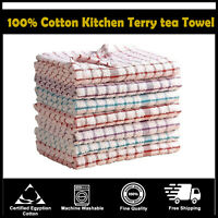 Pack of 15 Kitchen Terry Tea Towels Set Dish Cloths Cleaning Drying 100% Cotton