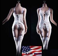 1/6 White Lingeries Corset Garter Stockings For PHICEN Hot Toys Figure ❶USA❶
