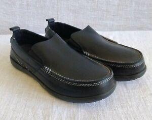 Men's Crocs Black Leather Harborline Loafer