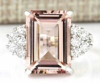 925 Silver Men Women Morganite Gemstone Ring Vintage Wedding Jewelry 5-12