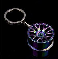 "Wheel Key Ring *Neo Chrome* Chain JDM Car Rim Tyre 17"" 18"" WRX Evo SS XR Turbo"