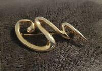 Vintage Abstract Modernist Goldtone Squiggle Brooch