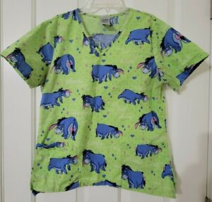 Disney Scrub Top Eeyore Pictures & Sayings from Winnie the Pooh Size Small Green