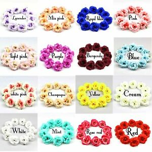 10/100Pcs Artificial Flower Heads 5cm Silk Rose Flowers for Wedding Wreath Decor