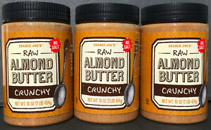 Trader Joe's Crunchy Almond Butter - Natural, Raw, Unsalted - 3 Jars- Free Ship!