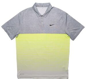 NIKE TIGER WOODS Short Sleeve Polo Shirt 648717 Gray Yellow Striped Large L