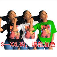 🔥New Women's Summer Round Neck Short Sleeve Print Casual Street T-shirt Tops