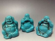 3 PCS COLLECTIBLE CHINESE TURQUOISE HAND CARVED SMILE BUDDHA STATUE