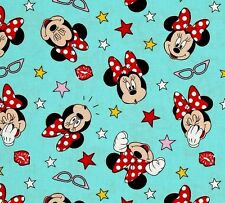 MINNIE MOUSE BEING SILLY - Blue - Cotton - Quilting Fabric - per 1/2 Yard