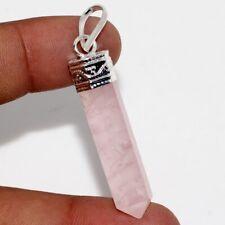 """Silver Plated Pendant 2"""" Gw Pencil Rose Quartz 925 Sterling"""