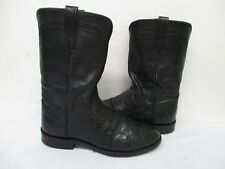 LUCCHESE 2000 Black Ostrich Leather Roper Cowboy Boots Size 8 EE Style T0076C2