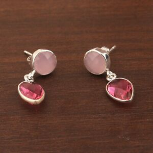 Pink Chalcedony Ruby Hydro Quartz Silver Plated Drop Dangle Hook Earring Pairs