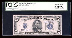 DBR $5 1934-C Silver Fr. 1653W Wide Superb Gem PCGS 67 PPQ Serial Q25802379A