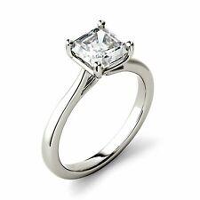 Engagement Ring, Solid White Gold Charles & Colvard Asscher 6.5mm, Moissanite