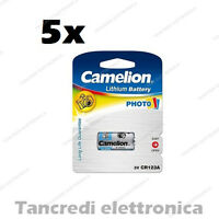 5x BATTERIA CAMELION 123 3V ULTRA LITHIUM DL123A EL123A CR123A CR17345 LITIO