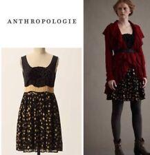 Anthropologie BURLAPP Grand Cru Sleeveless Dress Cotton/Silk Black/Gold Size S