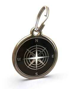 Pet Dog Cat ID Engraved Name Tag Personalized Stainless Steel Black Compass