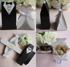 Lot 50pc Tuxedo Dress Ribbon Groom Bridal Wedding Party Favor Gift Candy Boxes