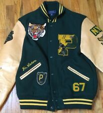 Polo Ralph Lauren Tiger Varsity Jacket $798NWT patch leather P ny rugby usa M
