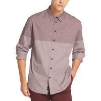 DKNY Mens Gingham Long Sleeve Cotton Button-Down Shirt Top BHFO 8230