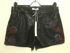 Urban Bliss Faux Leather Embroidered Shorts Sizes 6-14 Uk BNWT RRP £18.95 Black