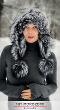 SILBERFUCHS Pelzmütze Eskimo Chapka Damen Fellmütze Silver Fox Fur Hat Mütze Ski