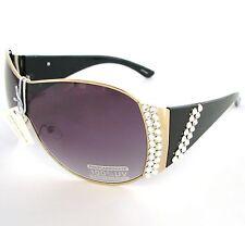 Nueva Marrón Cristal Acento 100% UV Shield Gafas de Sol + Case-Nais Blanco