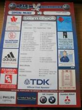 12/09/1998 Colour Teamsheet: Crystal Palace v Port Vale (Folded, Team Changes).