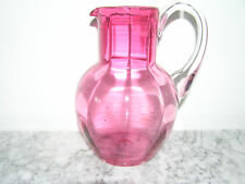 ANTIQUE PINK GLASS WATER JUG.