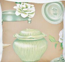 "Floral Cushion Cover Manuel Canovas Fabric Celadon Green Printed Square 16"""