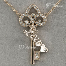 9CT GOLD MADE WITH SWAROVSKI CRYSTAL KEY LOVE PENDANT NECKLACE SYDNEY STOCK
